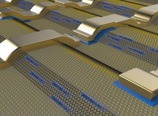 الکترونها (نقطههای آبی رنگ در تصویر) تقریبا آزادانه در امتداد روبانهایی از گرافین (مشکی) حرکت میکنند که در سیلیکون کارباید رشد کردهاند.
