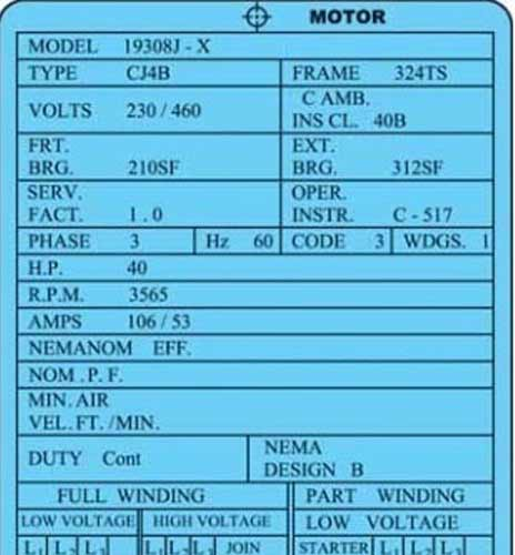 پلاک خوانی موتور های الکتریکی تک فاز و سه فاز